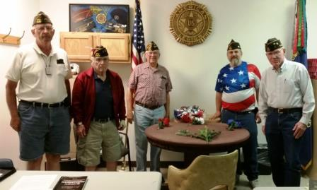 September 12, 2017.  Post 11453 Officers lead MIA POW Remembrance. Red, White Blue, Green. Left to right. Senior Vice Commander Al, Junior VC Don, Commander Jim, Quartermaster Jim, and Chaplain Jim.